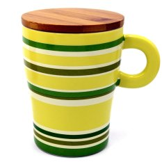 Vococal Personalized Colours Style Ceramic Cup with Wooden Lid 320ml (Multicolor)