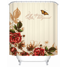 W180CM X H180CM Modern Chinese Styles Waterproof Shower Curtain With Hooks Flowers Printed Bathroom Curtains For Home Decorations