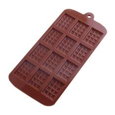 Waffle Shape Chocolate Mold Mat Ice Cube Fondant 12-Cavity Mould Oven - Intl