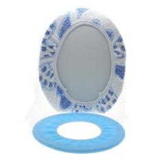 Whyus 2Pcs / Set Washable Soft Lid Top Cover + O Ring Mat Bathroom Warmer Toilet Seat Pad (Blue)