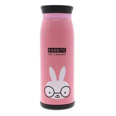 Whyus 500ml Stainless Steel Cute Cartoon Animal Thermos Travel Mug Vacuum Cup Bottle (Rabbit)