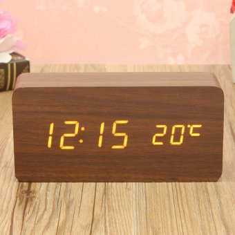 Wooden Wood Digital LED Alarm Modern Clock Time Calendar Thermometer USB/AAA(Brown Wood + White LED) - intl