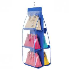 XI YOYO Non Woven Hanging Type Storage Bag Multilayer Perspective Dust Bag Containing Hanging Bag Storage Bag (Blue)