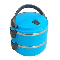 XIYOYO Portable Double Layer Stainless Steel Insulation Lunchboxfood Container With Handle (Blue) - Intl