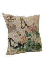 Yazilind Retro Bird Flower Pattern Decorative Pillowcase Room Sofa Home 45*45CM / 17.55*17.55 Inch