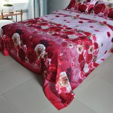 Yellow Red Pink Rose Flower Pattern 4Pcs 3D Printed Bedding Set Bedclothes Home Textiles King Queen Size Quilt Cover Bed Sheet 2 Pillowcases (INTL)