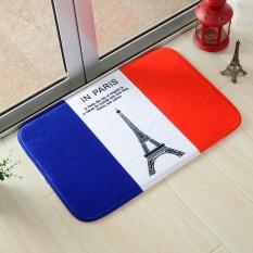 Yika 40*60cm Absorbent Soft Coral Velvet Non-slip Bathroom Floor Mat Rug National Flag France (Multicolor)