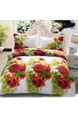 ZHENGQI 4 Pcs Sueding 3D Quilt Cover Pillowcases And Bed Linen Set (Spring)
