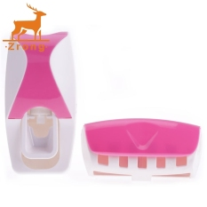 Zrong New Fashion Practical Automatic Toothpaste Dispenser + Toothbrush Holder (Pink) - Intl