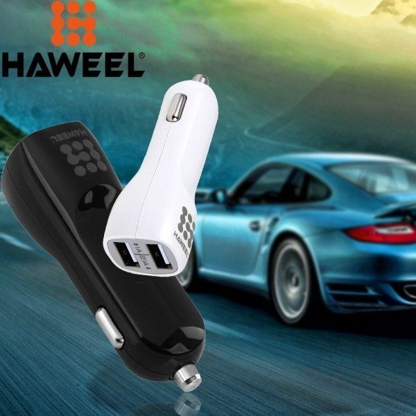 30 Pieces Mixed Colors HAWEEL 3.1A Dual USB Ports Car Charger Kit with Display Stand Box (Intl)