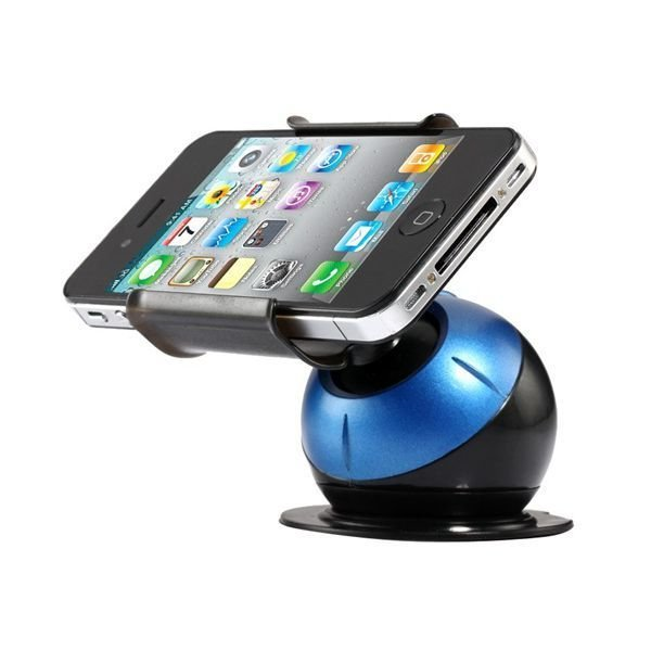 360 Degree Rotatable Globe Shaped Car Stand with Non Planar Suction Cup for Cell Phones (Blue)