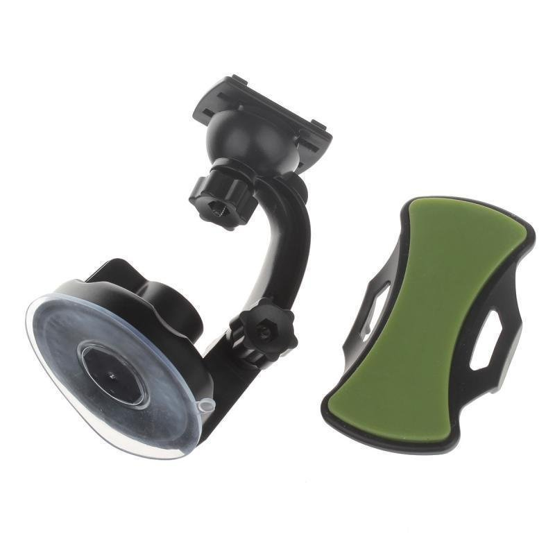 360 Degree Rotation Holder Mount with H17 Suction Cup + C71 Paste Back Clamp for Mobile (Black+ Green)