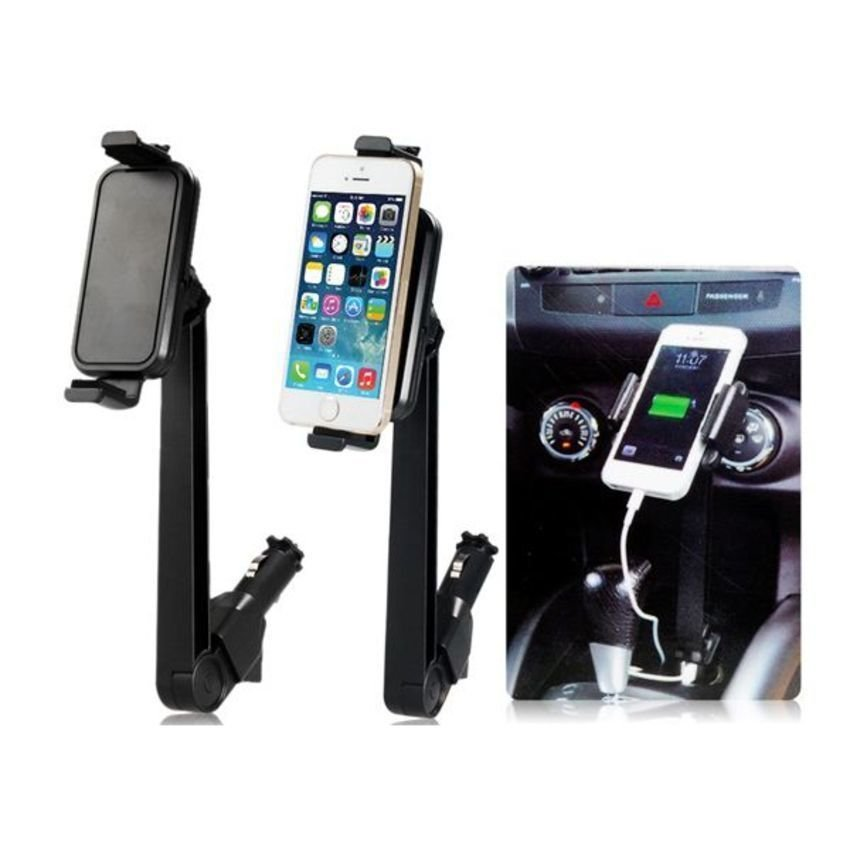 360 Degrees Rotating Universal Mobile Phone Tablet PC Car Mount Holder with Dual USB Ports Indicator Light (Black)