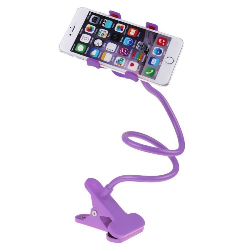 360 New Flexible Lazy Bed Desktop Car Stand Mount Holder For iPhone For Samsung (Purple)