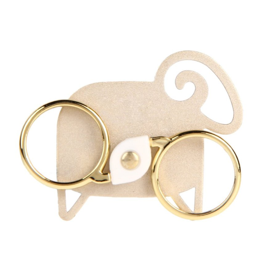 360 Rotation Anti Drop Double Rings Holder for iPhone 6 plus Samsung (Gold)