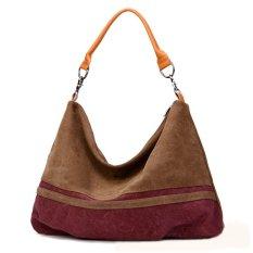 360DSC Fashion Women Large Capacity Leisure Washed Canvas Handbag Shoulder Bag (Coffee) - INTL