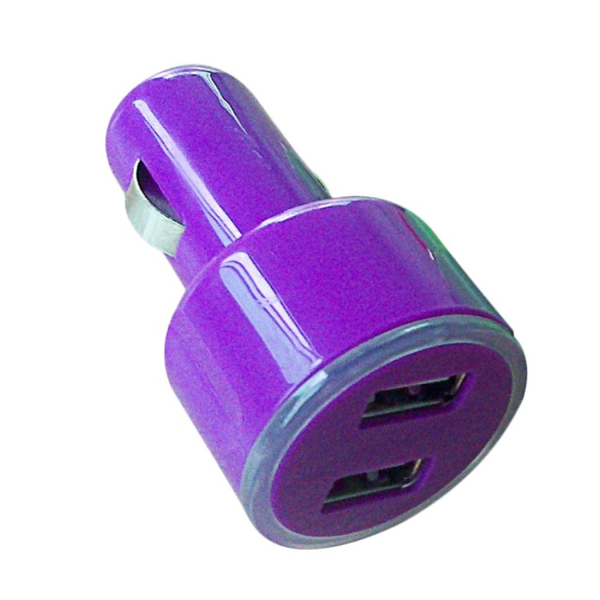 360DSC Portable Travel 2.1A Dual USB Port Car Charger Adapter for Appple and Android Devices - Purple