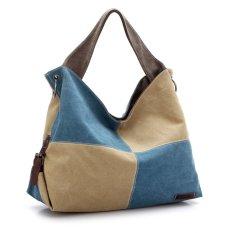 360DSC Women Large Capacity Split Joint Canvas Hobo Bags Crossbody Shoulder Bag Handbag - Blue + Beige- INTL