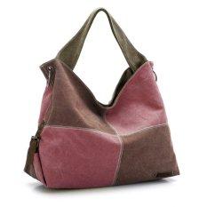 360DSC Women Large Capacity Split Joint Canvas Hobo Bags Crossbody Shoulder Bag Handbag - Brown + Coffee- INTL