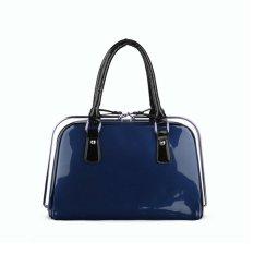 360DSC Women Love Korean Fashion Patent Leather Bag Steel Clip Ladies Handbags (Transverse Type) (Blue) - INTL