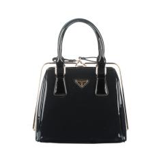 360DSC Women Love Korean Fashion Patent Leather Bag Steel Clip Ladies Handbags (Vertical Type) (Black) - INTL
