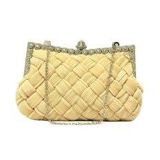 360DSC Women's Fashion Knit Lines Rectangular Shape Beaded Trim Evening Clutch Crossbody Handbag Chain Clutch Purse For Wedding Evening Party - Light Apricot- INTL