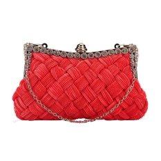 360DSC Women's Fashion Knit Lines Rectangular Shape Beaded Trim Evening Clutch Crossbody Handbag Chain Clutch Purse For Wedding Evening Party - Red- INTL