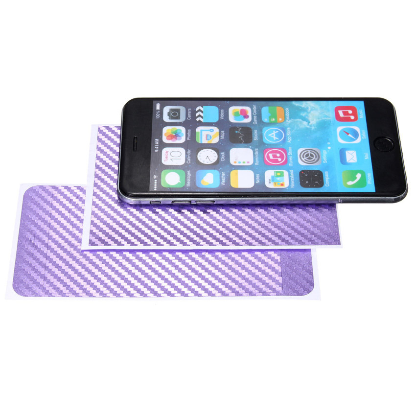 3D Carbon Fiber Fiber Sticker Decal Cover Case Protection for iPhone 6 (Purple) (Intl)