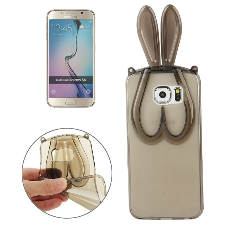 3D Folding Rabbit Ear Pattern TPU Protective Case for Samsung Galaxy S6 / G920(Grey)