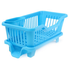 4-Color Kitchen Dish Drainer Drying Rack Washing Holder Basket Organizer Tray Blue (Intl)