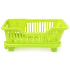4-Color Kitchen Dish Drainer Drying Rack Washing Holder Basket Organizer Tray Green (Intl)