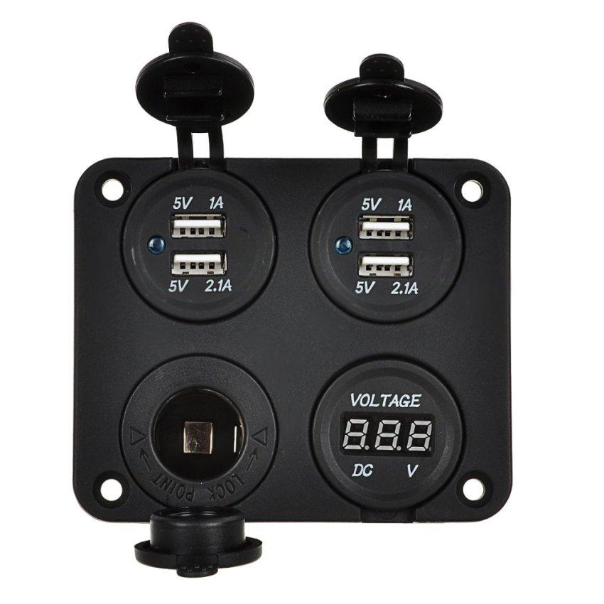4-Port USB Power Charger & Voltmeter & 12V Cigarette Lighter Socket for Car / Boat / Motorcycle (Intl)