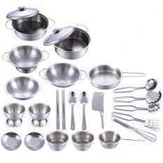 360DSC 25Pcs Stainless Steel Kids House Kitchen Toy Cooking Cookware Children Pretend u0026amp; Play Kitchen