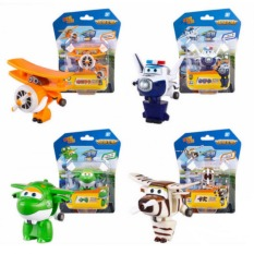 4pcs / Lot Super Wings Toys Mini Planes Model Transformation Robot Airplane Action Figures Boys Christmas Birthday Gift