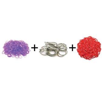 A1 Toys Paket Karet Refill Loom Bands Jelly Violet + Metalik Abu + Polkadot Merah Rainbow Loom