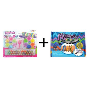 A1 Toys Paket Loom Bands Monstertail Box Biru + Rainbow Loom Kit Komplit 14 Warna