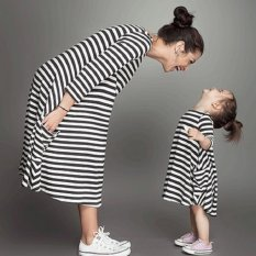 Autumn black and white striped girl with long sleeves dress - intl