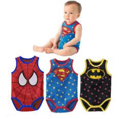 B5M Baby Boys Cartoon Superman Spider Man Batman Toddler Bodysuit Outfit Short Sleeve