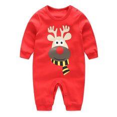 Bayi laki-laki dan perempuan yang baru lahir kapas merah rusa Natal baju romper bayi