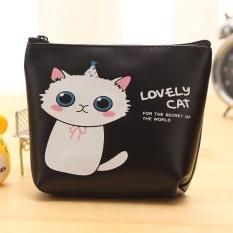 Cute Cat Moonar kartun dompet dompet Mini koin casing PU kulit Wanita Tas Genggam Tas kartu