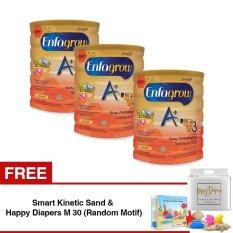 Enfagrow A+ 3 Susu Pertumbuhan - Madu - 800 gr Tin isi 3 Kaleng + Gratis Smart Kinetic Sand + FREE Happy Diapers M 30 (Random Motif)