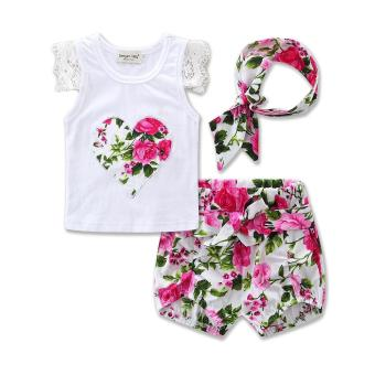 Fashion Sleeveless Summer Style Girls Lace Shirt +kids Floral printShorts + headband 3pcs Suit Children Rose baby girl Clothes - intl