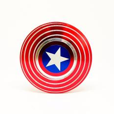 Fidget Spinner / Hand Spinner Premium Metal Captain America Techland Alumunium Alloy Full Bearing Focus Games / Toys / Mainan - Red