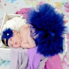 HengSong seratus hari studio foto bayi baru lahir cewek rok Tutu pita + bunga elastis bando