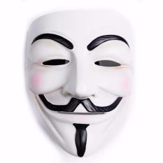 JBS Topeng Vendetta - Topeng Plastik Tahan Lama - Topeng Halloween pesta kostum Cosplay - Topeng Vendetta Mask Occupy Anonymous Cosplay - Putih / 1Pcs