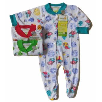 Jelova Angela 3Pcs Jumper Baby Bayi Motif Animal Jungle SNI Standart 0-4 Months Tutup Kaki - 3 Pcs
