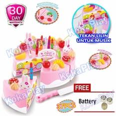 KokaPlay Cake DIY Play Set 37 pcs Mainan Kue Ulang Tahun DIY Fruit Cake Lilin Musik Lampu