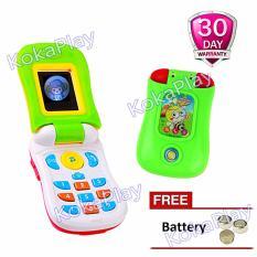 KokaPlay Music Cell Phone Clamshell Mainan Handphone Bayi Lipat Musik + Baterai
