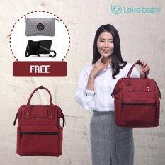 Lekebaby Diaper Bag Backpack & Tote Bag Large Capacity with Back Pocket WaterProof Mummy Bag – S (Red)