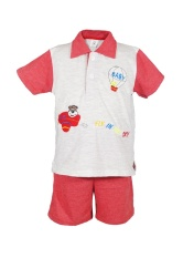 MacBear Baju Setelan Polo Anak Little Aviator Set Red Size 2